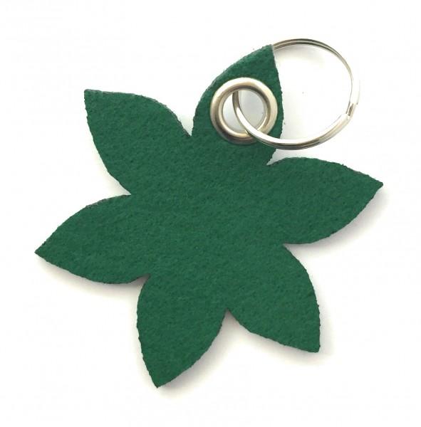 Blume - Spitz - Filz-Schlüsselanhänger - Farbe: waldgrün - optional mit Gravur / Aufdruck