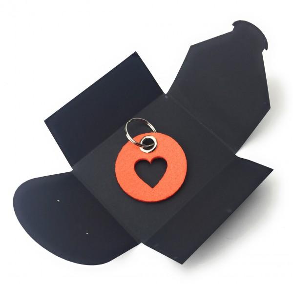 Schlüsselanhänger aus Filz - Kreis / Scheibe / mit Herz / Liebe - orange als Schlüsselanhänger / Kof
