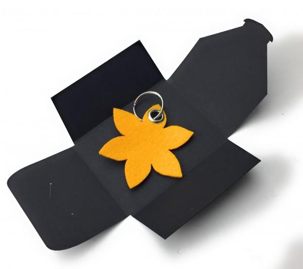 Schlüsselanhänger aus Filz optional mit Namensgravur - Blume spitz / Blüte - safrangelb als Schlüss