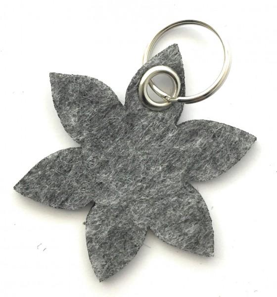 Blume - Spitz - Filz-Schlüsselanhänger - Farbe: grau meliert - optional mit Gravur / Aufdruck