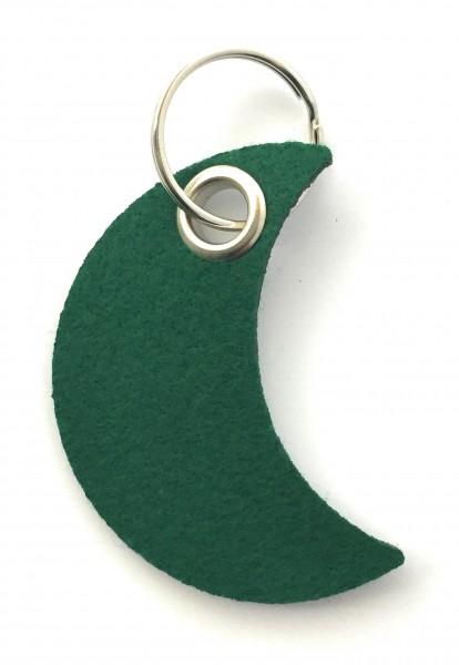 Mond - Filz-Schlüsselanhänger - Farbe: waldgrün - optional mit Gravur / Aufdruck