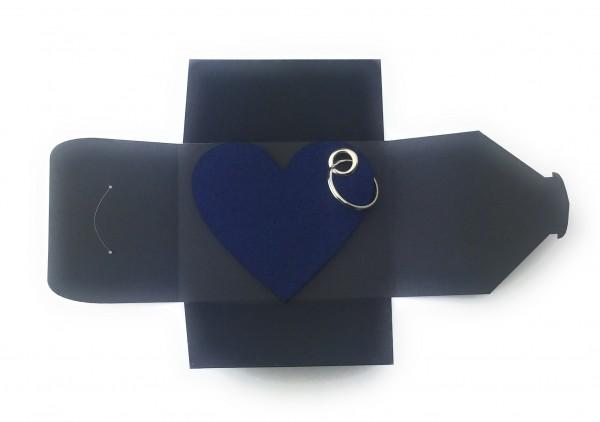 Schlüsselanhänger aus Filz optional mit Namensgravur - Herz / Liebe gross - marineblau als Schlüssel