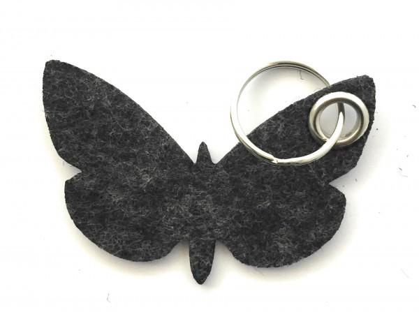 Schmetterling - Filz-Schlüsselanhänger - Farbe: schwarz meliert - optional mit Gravur / Aufdruck