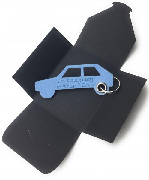 Schlüsselanhänger aus Filz optional mit Namensgravur - Auto Retro - eisblau als Schlüsselanhänger /