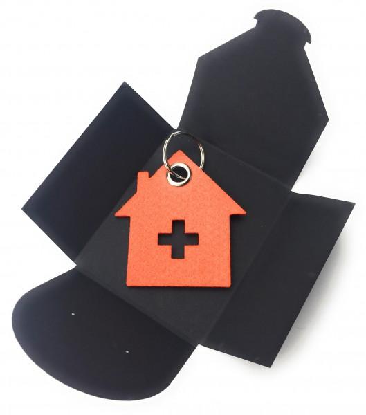 Schlüsselanhänger aus Filz optional mit Namensgravur - Haus mit Kreuz - orange als Schlüsselanhänge