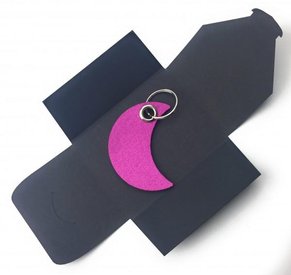 Schlüsselanhänger aus Filz optional mit Namensgravur - Mond / Nacht - pink / magenta als Schlüssela