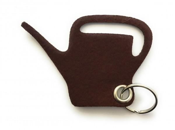 Giess-Kanne - Filz-Schlüsselanhänger - Farbe: braun - optional mit Gravur / Aufdruck