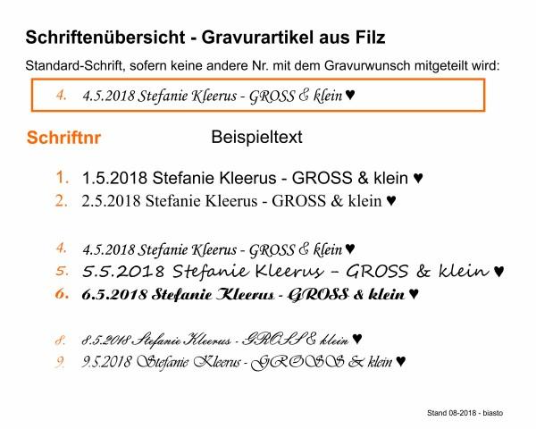 Schlüsselanhänger aus Filz optional mit Namensgravur - Hasel-Nuss / Garten - marineblau als Schlüss