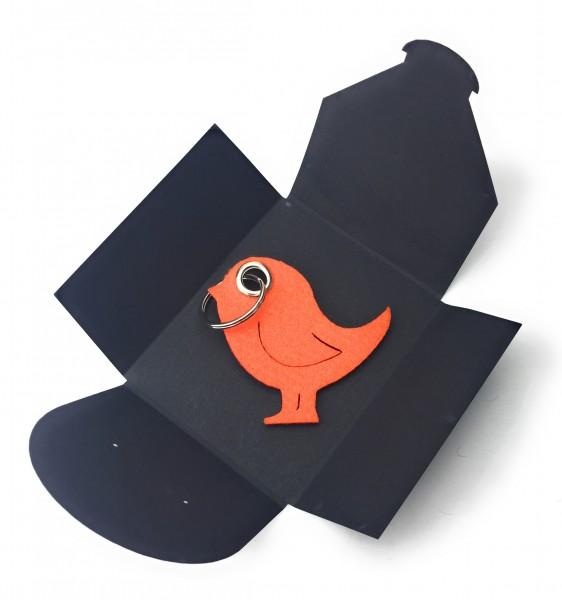 Schlüsselanhänger aus Filz - Vogel / Tier - orange als Schlüsselanhänger / Kofferanhänger und besond