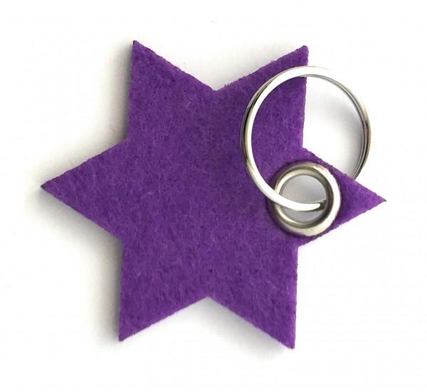 Stern / 6eckig - Filz-Schlüsselanhänger - Farbe: lila / flieder - optional mit Gravur / Aufdruck