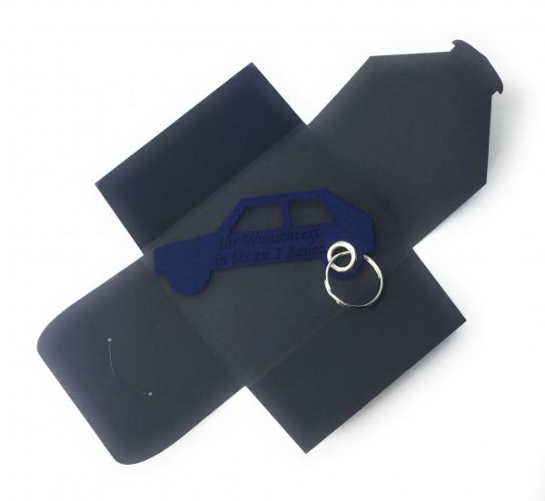 Schlüsselanhänger aus Filz optional mit Namensgravur - Auto Retro - marineblau als Schlüsselanhänger