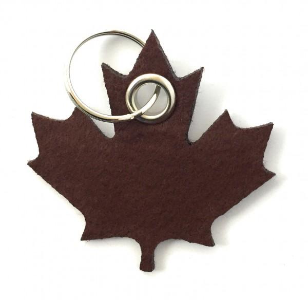 Ahorn-Blatt / Kanada - Filz-Schlüsselanhänger - Farbe: braun - optional mit Gravur / Aufdruck