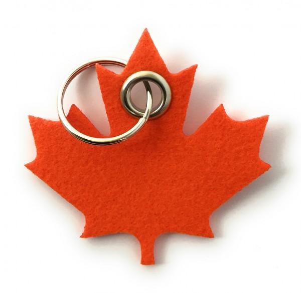 Ahorn-Blatt / Kanada - Filz-Schlüsselanhänger - Farbe: orange - optional mit Gravur / Aufdruck