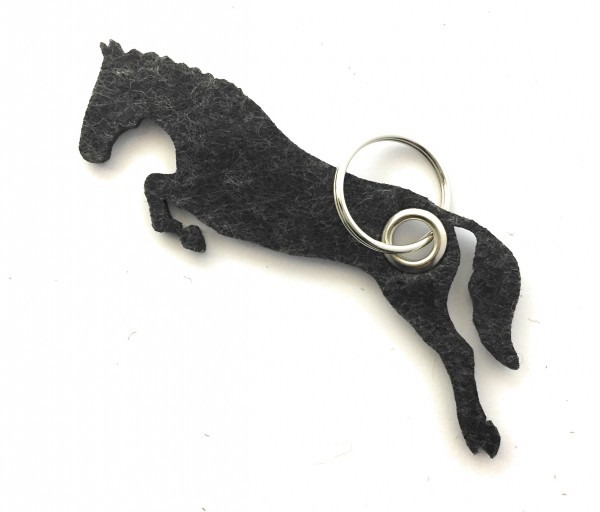 Spring - Pferd - Filz-Schlüsselanhänger - Farbe: schwarz meliert - optional mit Gravur / Aufdruck