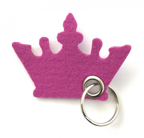Krone - Filz-Schlüsselanhänger - Farbe: magenta - optional mit Gravur / Aufdruck
