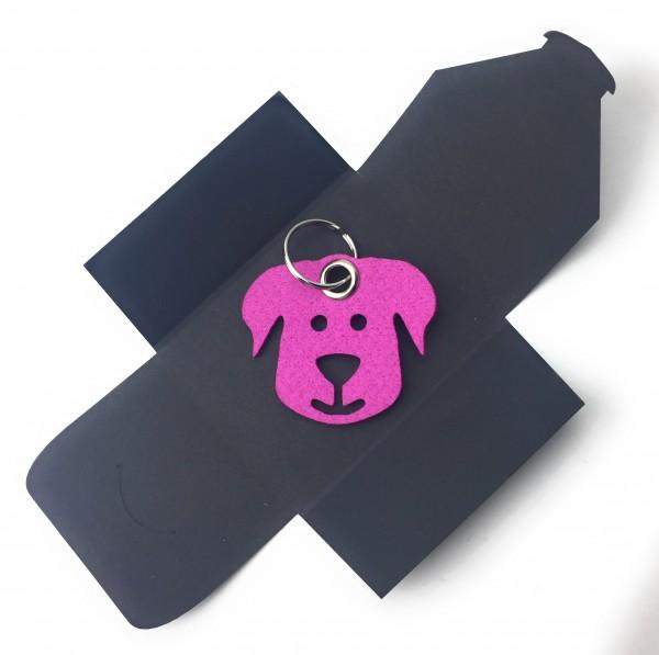 Schlüsselanhänger aus Filz - Hunde-Gesicht / Tier - pink / magenta als Schlüsselanhänger / Kofferan