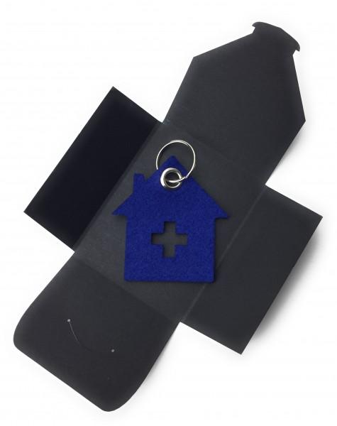 Schlüsselanhänger aus Filz optional mit Namensgravur - Haus mit Kreuz - königsblau als Schlüsselanh