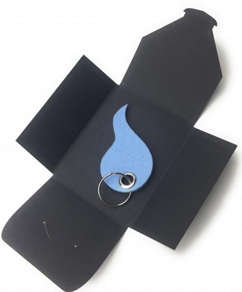 Schlüsselanhänger aus Filz optional mit Namensgravur - Flamme / Tropfen - eisblau als Schlüsselanhä