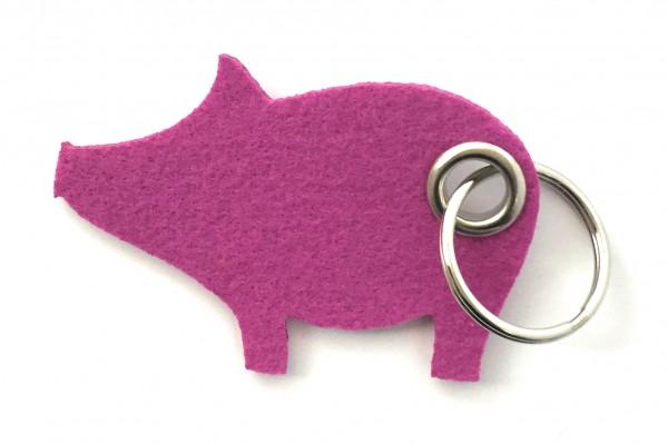 Glücks-Schwein - Filz-Schlüsselanhänger - Farbe: magenta - optional mit Gravur / Aufdruck