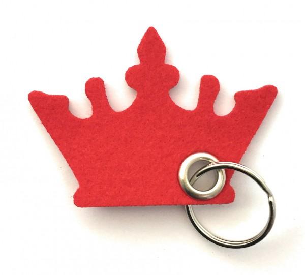 Krone - Filz-Schlüsselanhänger - Farbe: rot - optional mit Gravur / Aufdruck