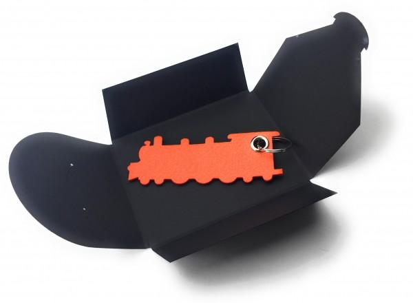 Schlüsselanhänger aus Filz optional mit Namensgravur - Grosse Dampflok / Lokomotive - orange als Sc