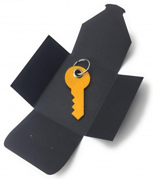 Schlüsselanhänger aus Filz optional mit Namensgravur - Haus-Tür-Schlüssel / Key - safrangelb als Sch