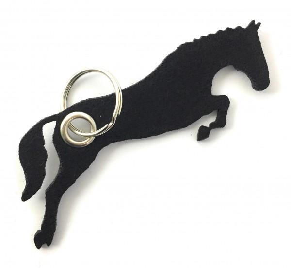 Spring - Pferd - Filz-Schlüsselanhänger - Farbe: schwarz - optional mit Gravur / Aufdruck