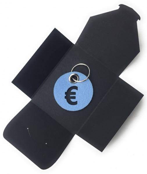 Schlüsselanhänger aus Filz - Kreis / Scheibe / mit €-Zeichen - eisblau als Schlüsselanhänger / Koff