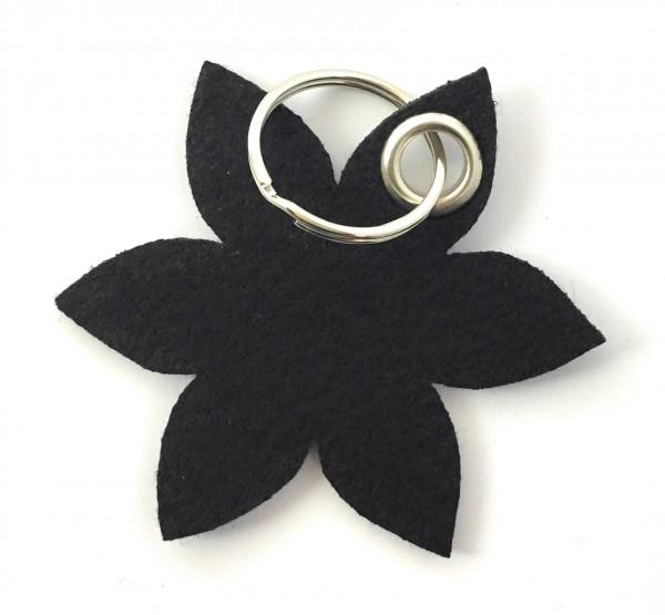 Blume - Spitz - Filz-Schlüsselanhänger - Farbe: schwarz - optional mit Gravur / Aufdruck
