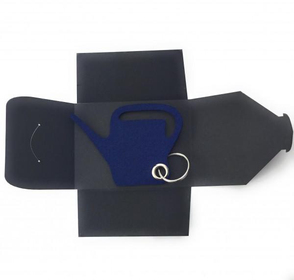 Schlüsselanhänger aus Filz optional mit Namensgravur - Giess-Kanne / Garten - marineblau mit gratis