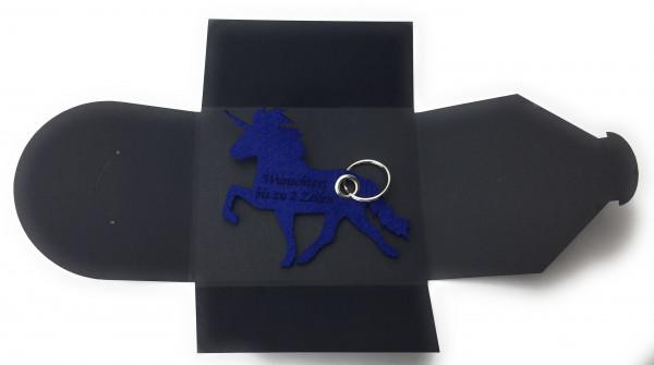 Schlüsselanhänger aus Filz optional mit Namensgravur - Einhorn / Märchen - königsblau als Schlüssela