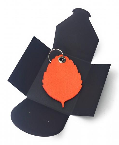 Schlüsselanhänger aus Filz optional mit Namensgravur - Blatt / Laub / Baum - orange als Schlüsselan