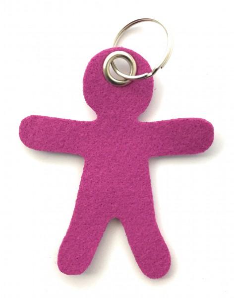Lebkuchen - Männchen - Filz-Schlüsselanhänger - Farbe: magenta - optional mit Gravur / Aufdruck
