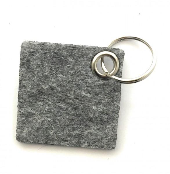 Viereck - Filz-Schlüsselanhänger - Farbe: grau meliert - optional mit Gravur / Aufdruck