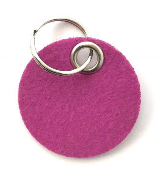 Kreis / Scheibe / Rund - Filz-Schlüsselanhänger - Farbe: magenta - optional mit Gravur / Aufdruck