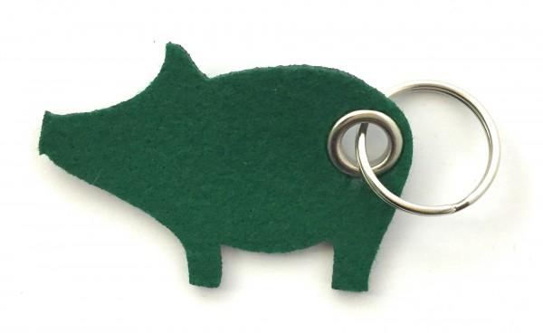Glücks-Schwein - Filz-Schlüsselanhänger - Farbe: waldgrün - optional mit Gravur / Aufdruck
