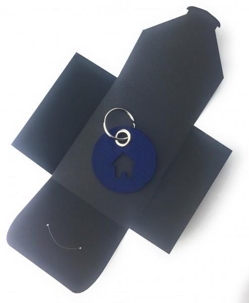 Schlüsselanhänger aus Filz - Kreis / Scheibe / mit Haus - marineblau als Schlüsselanhänger / Koffera
