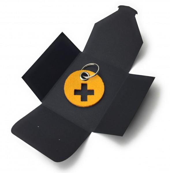 Schlüsselanhänger aus Filz - Kreis / Scheibe / mit Kreuz - safrangelb als Schlüsselanhänger / Koffer