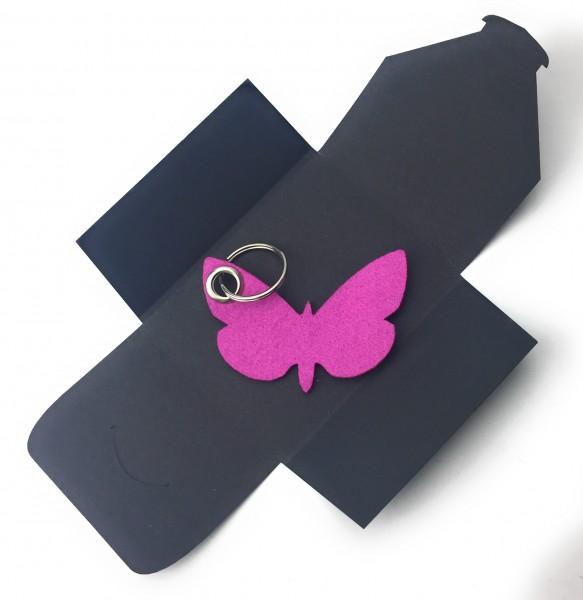 Schlüsselanhänger aus Filz optional mit Namensgravur - Schmetterling / Tier - pink / magenta als Sc