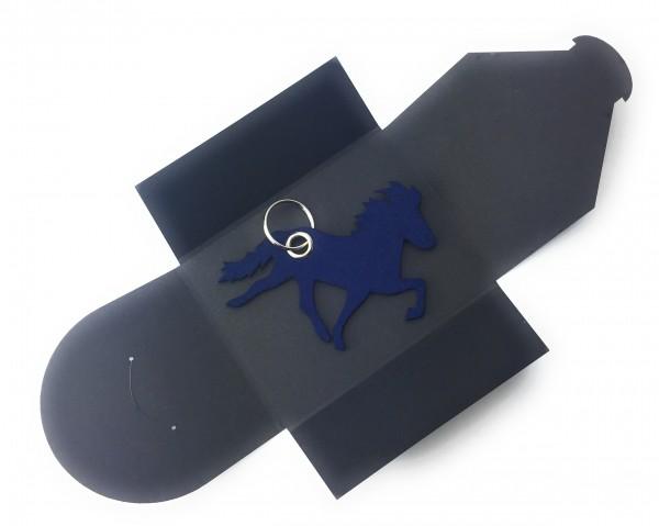 Schlüsselanhänger aus Filz optional mit Namensgravur - Island-Pferd / Reiter - marineblau als Schlüs