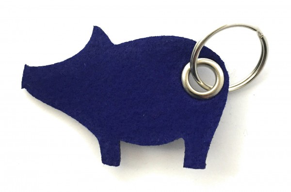 Glücks-Schwein - Filz-Schlüsselanhänger - Farbe: royalblau - optional mit Gravur / Aufdruck