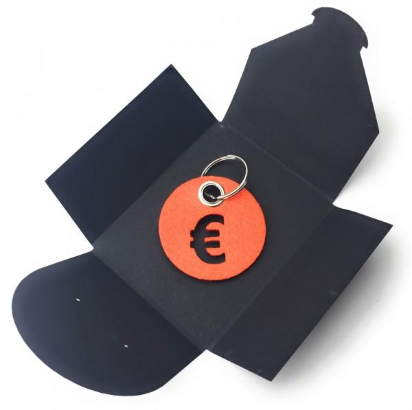 Schlüsselanhänger aus Filz - Kreis / Scheibe / mit €-Zeichen - orange als Schlüsselanhänger / Koffe