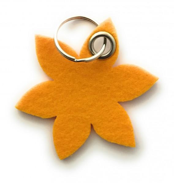 Blume - Spitz - Filz-Schlüsselanhänger - Farbe: gelb - optional mit Gravur / Aufdruck