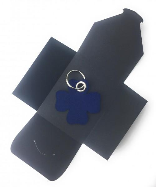 Schlüsselanhänger aus Filz optional mit Namensgravur - Glück / Kleeblatt - marineblau als Schlüssela