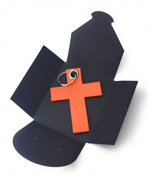 Schlüsselanhänger aus Filz optional mit Namensgravur - Kreuz gross - orange als Schlüsselanhänger /