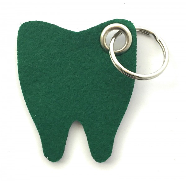 Backen - Zahn - Filz-Schlüsselanhänger - Farbe: waldgrün - optional mit Gravur / Aufdruck