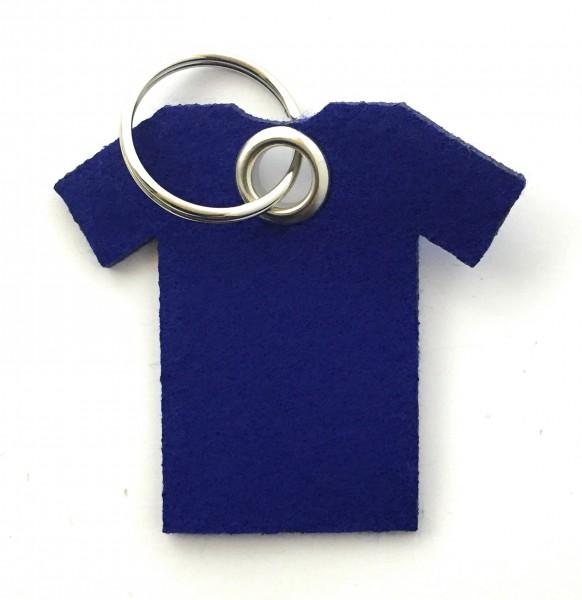 T-Shirt - Filz-Schlüsselanhänger - Farbe: royalblau - optional mit Gravur / Aufdruck
