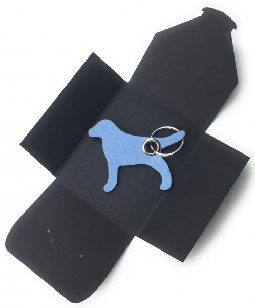 Schlüsselanhänger aus Filz optional mit Namensgravur - Hund / Tier - eisblau als Schlüsselanhänger /