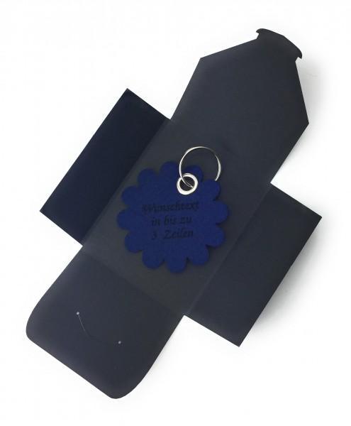 Schlüsselanhänger aus Filz optional mit Namensgravur - Blume rund / Blüte - marineblau als Schlüsse