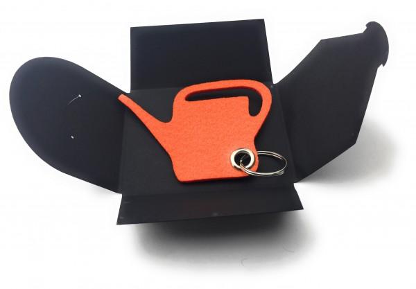 Schlüsselanhänger aus Filz optional mit Namensgravur - Giess-Kanne / Garten - orange mit gratis Name